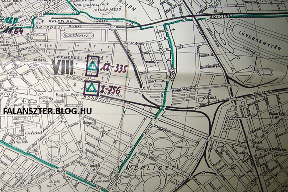 1952-ből származó térképrészlet, amely a környék jelentősebb föld alatti objektumait jelzi sematikusan és direkt nem pontosan, hanem csak elnagyolva. A temetőnél feltüntetett két objektum tényleges bejárata nem a négyzetek alatt találhatók meg. (Fotó: Jamrik Levente/Falanszter.blog.hu)
