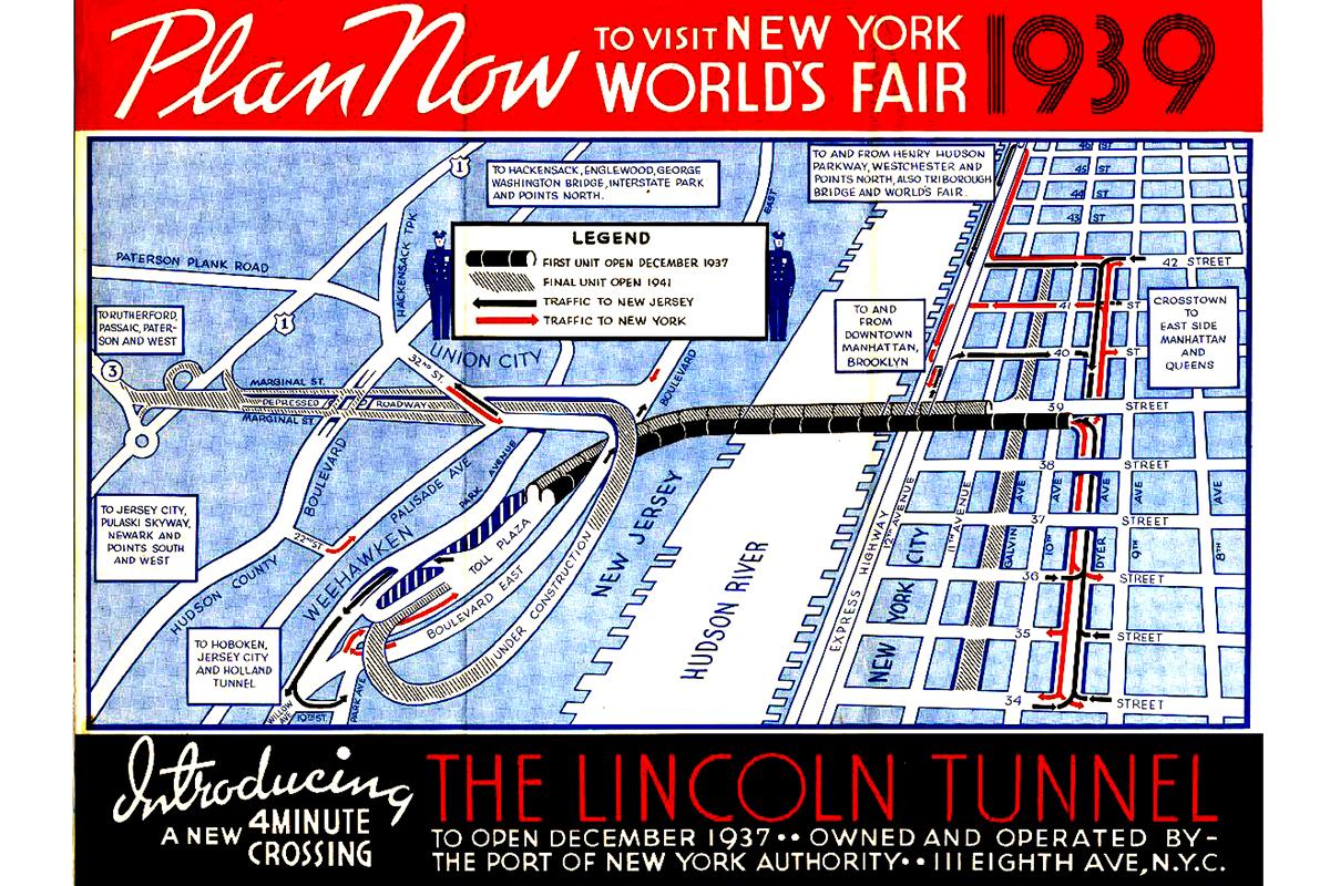 A Lincoln-alagút egy 1938-as térképen (Fotó: Hoboken.pastperfectonline.com)