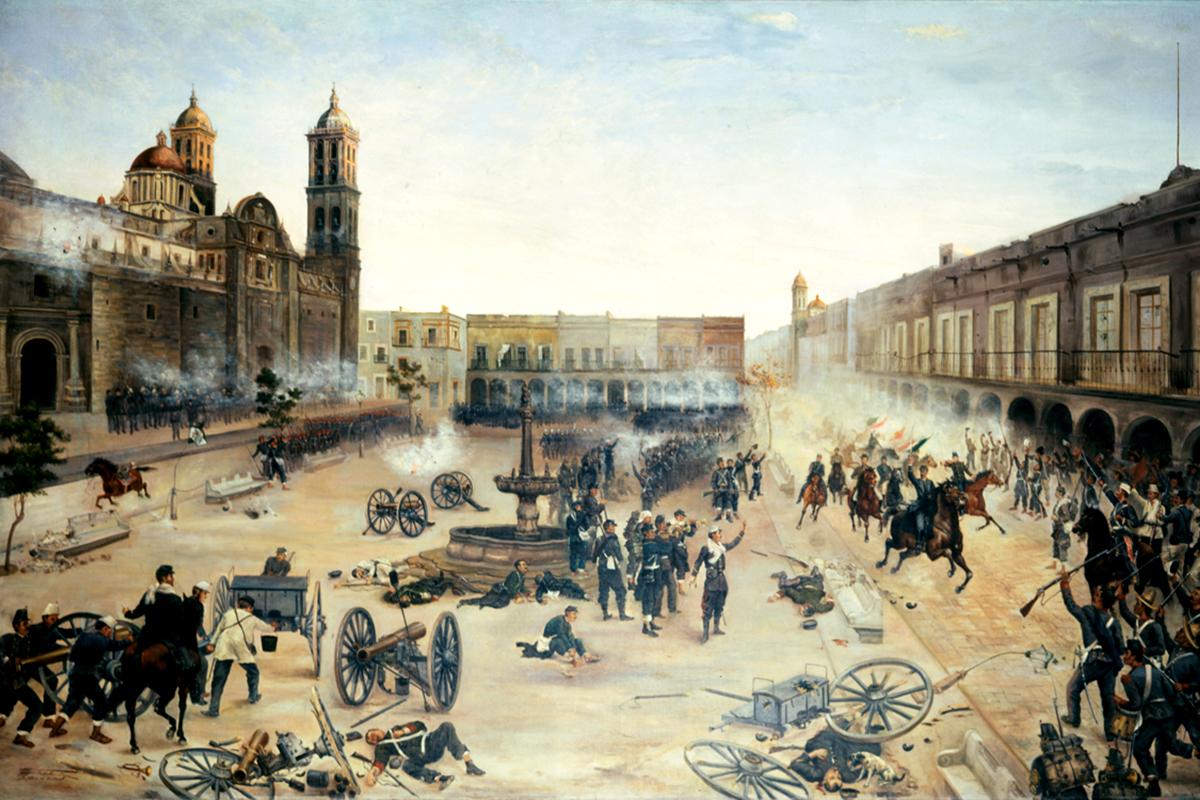 Porfírio Diaz visszafoglalja 1867. április 2-án Pueblát. (Francisco de Paula Mendoza festménye 1902)
