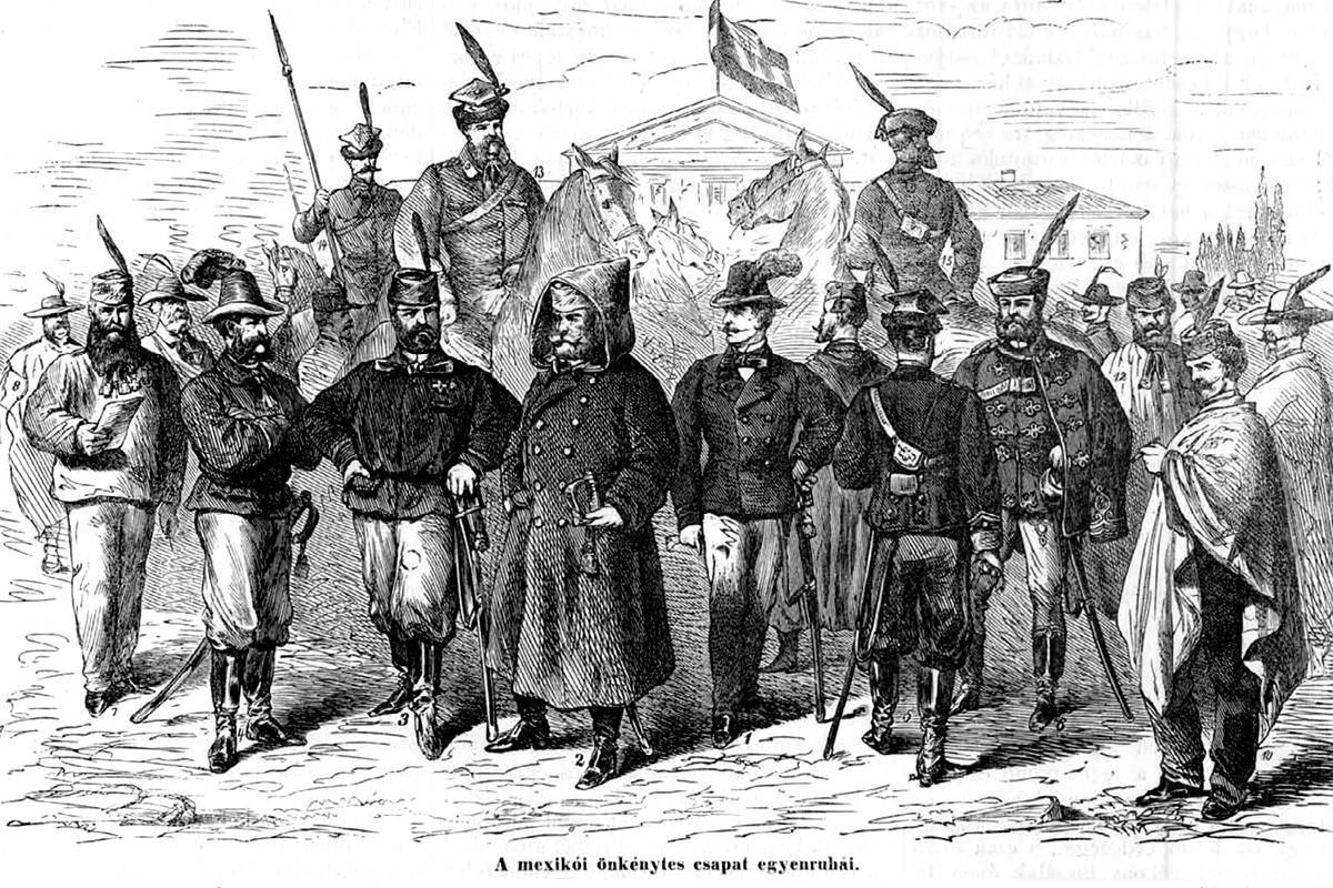A kontingens még a kiutazás előtt. (Forrás: Vasárnapi Újság 1864)