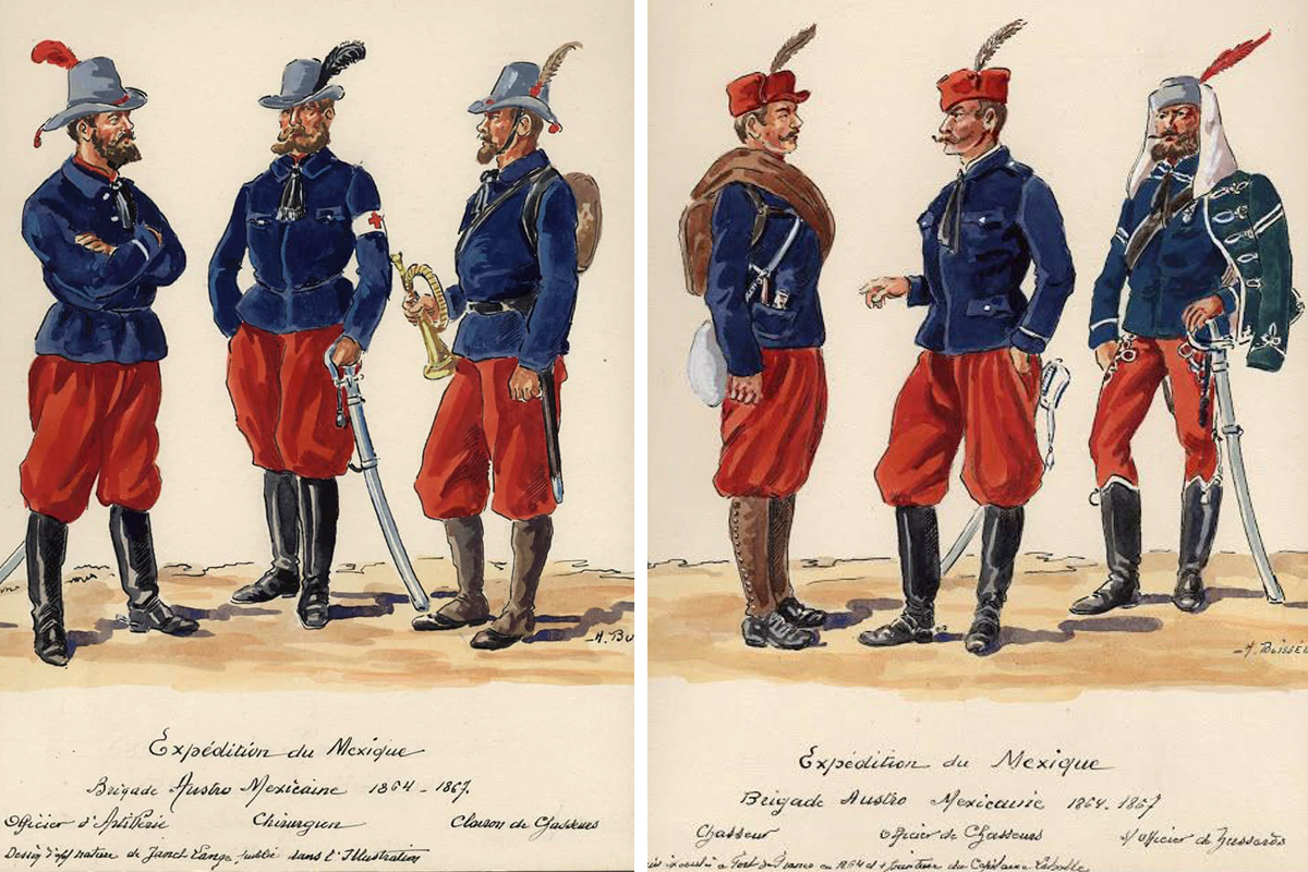 A hadtest ruházata. Baloldalt a vadászoké, jobboldalt a huszároké. (Forrás: Agoravox.fr.)