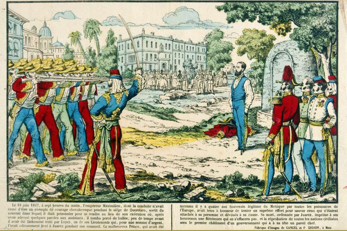 Francia fiktív illusztráció Miksa kivégzéséról. (Grafika: Gangel és Didion 1867)