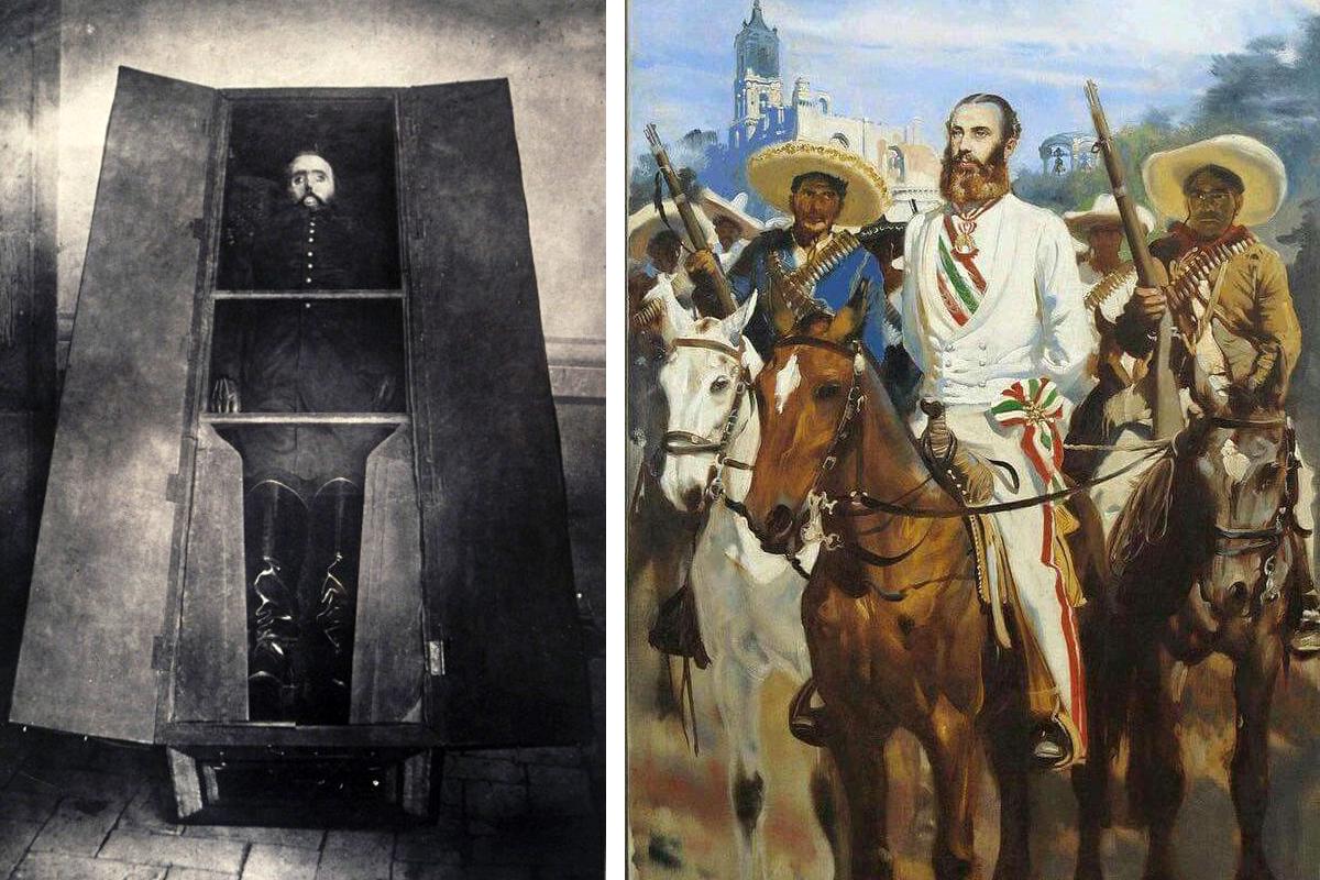 Balra Miksa holtteste, amelyet Szenger Ede balzsamozott be. Jobbra az uralkodót a kivégzésére viszik. (Grafika: Falanszter.blog.hu)