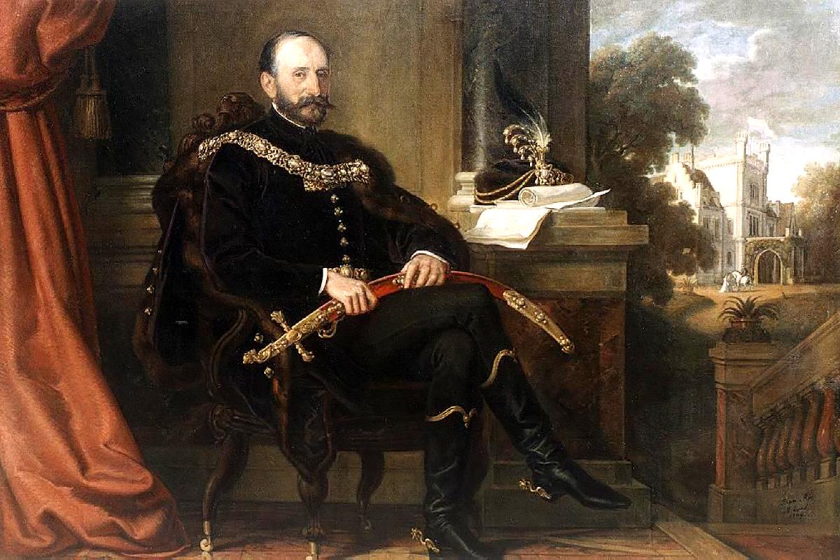 Az örömapa, báró Mikos Ede. Than Mór festménye 1869-ből. (Forrás: Pinterest.com)