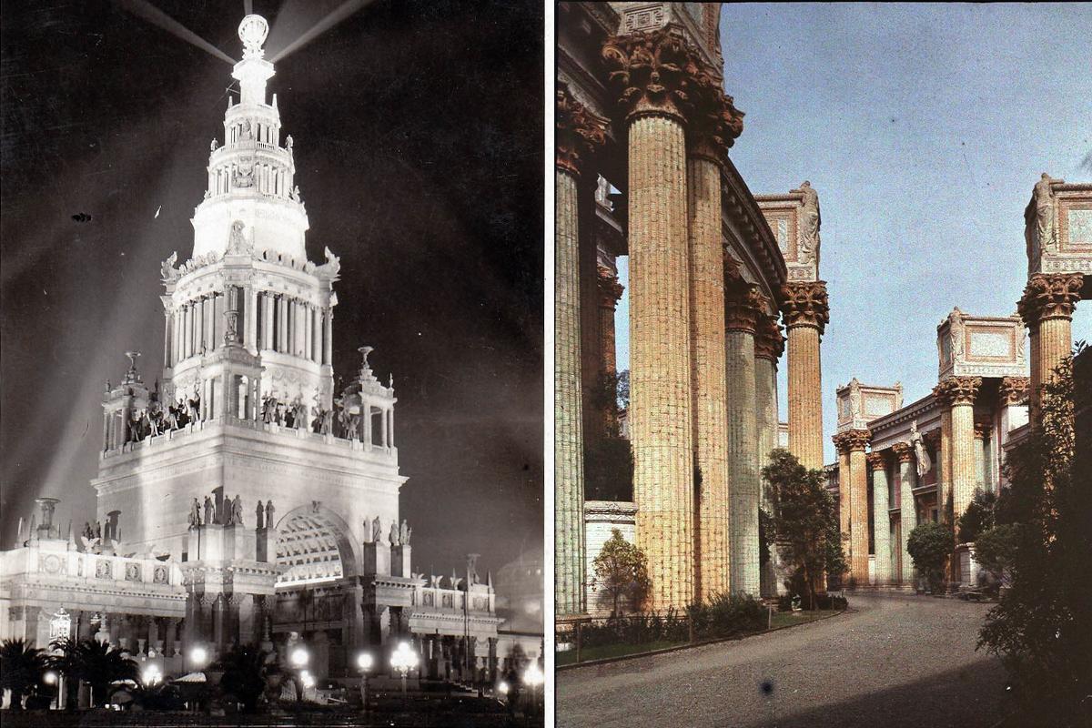 Balra az Ékszer-torony éjjeli kivilágításban, jobbra a Nyugati oszlopcsarnok (Fotó: National Museum of American History, grafika: Falanszter.blog.hu)