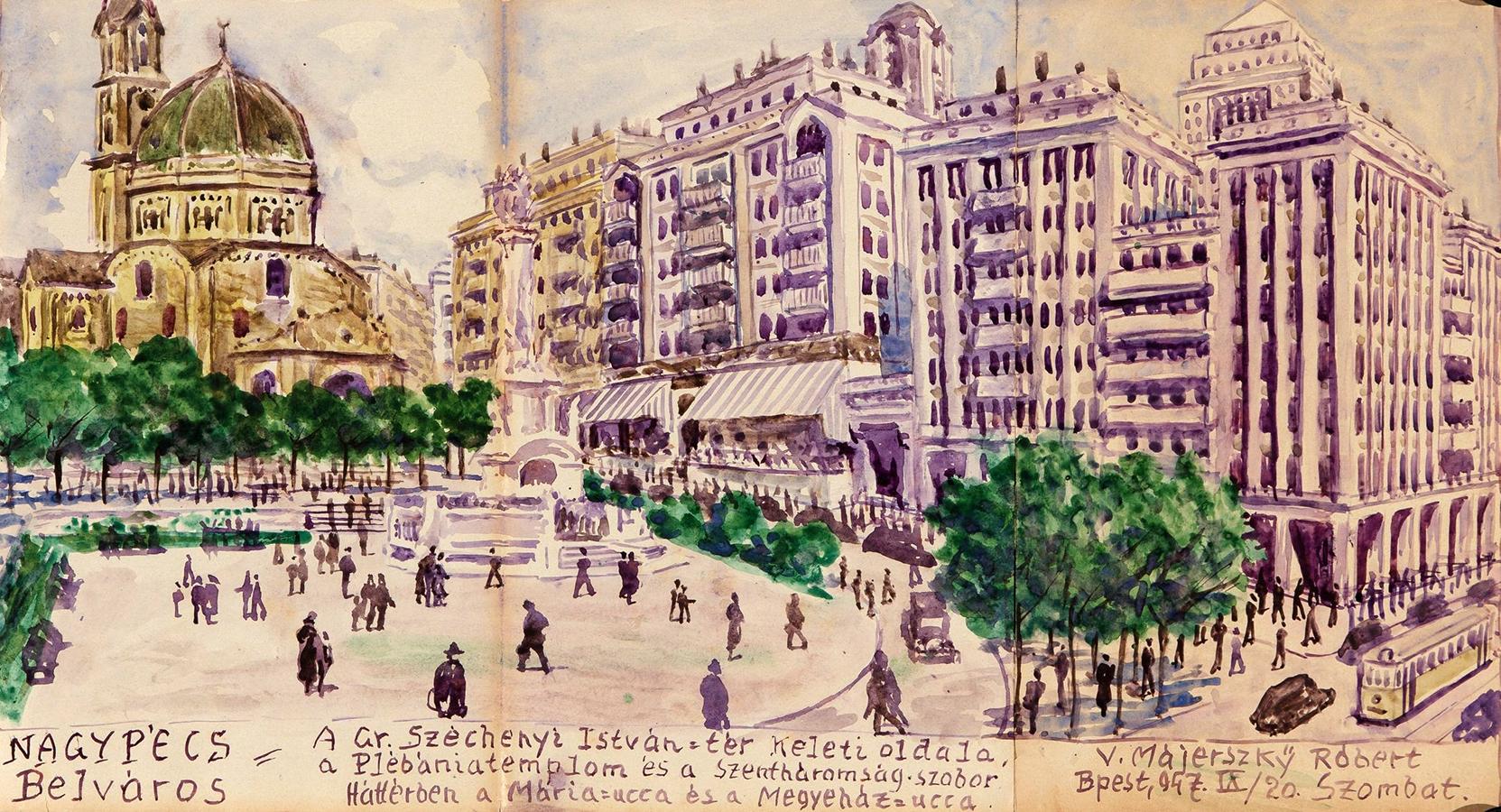 Pécs megapolisz 'Belváros' kerülete. A Széchenyi tér a dzsámival. (Forrás: Janus Pannonius Múzeum)