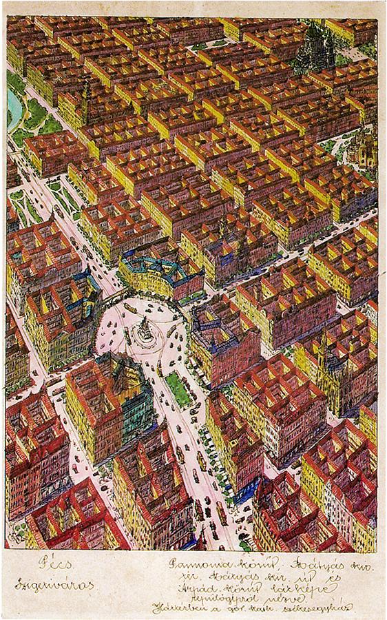 Pécs megapolisz 'Szigetiváros' kerülete. A Pannónia- és az Árpád körút, középen a Mátyás király tér. (Forrás: Janus Pannonius Múzeum)