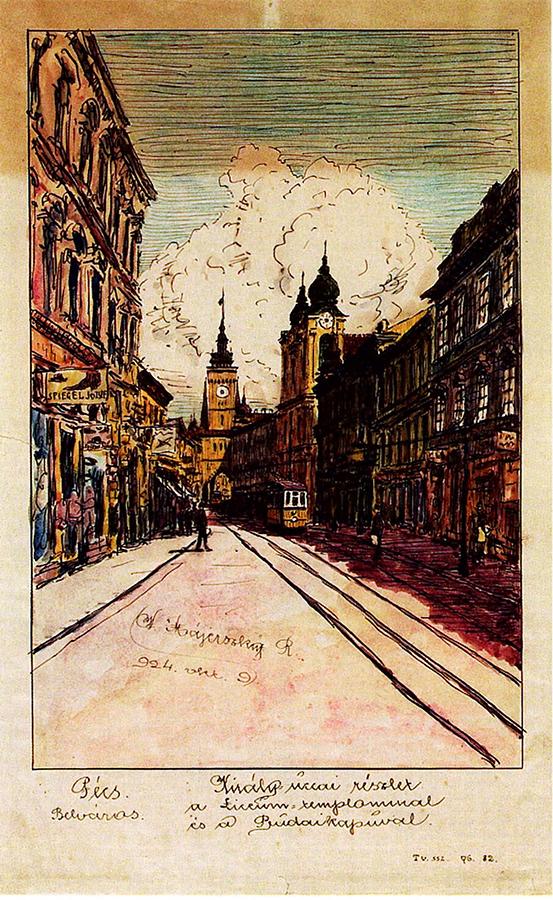 Pécs megapolisz 'Belváros' kerülete. A Király utca a Líceum templommal és Budai kauval.(Forrás: Janus Pannonius Múzeum)