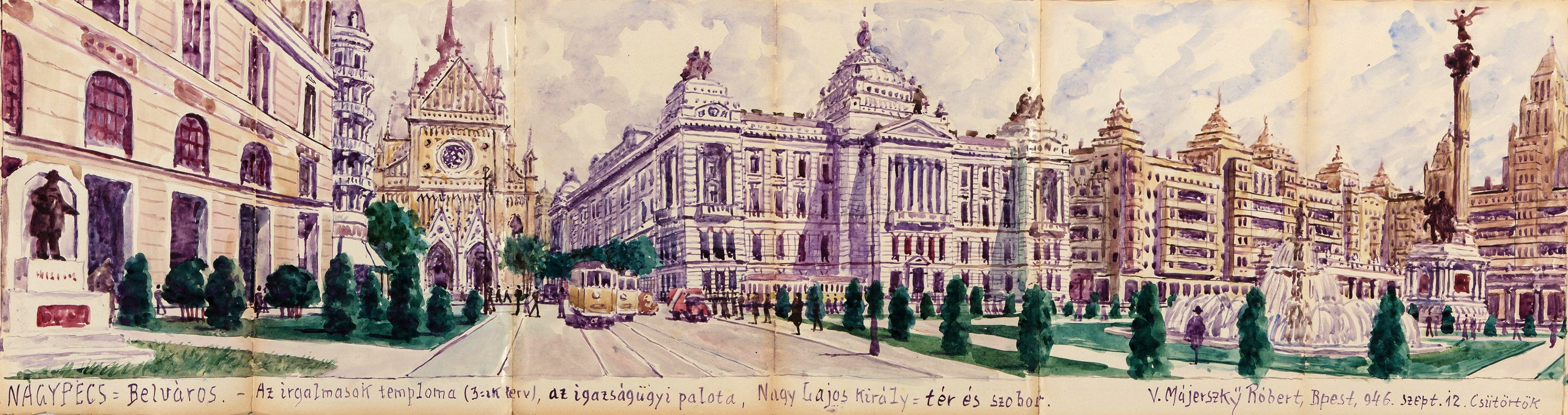 Pécs megapolisz 'Belváros' kerülete. A Nagy Lajos király tér. (Forrás: Janus Pannonius Múzeum)