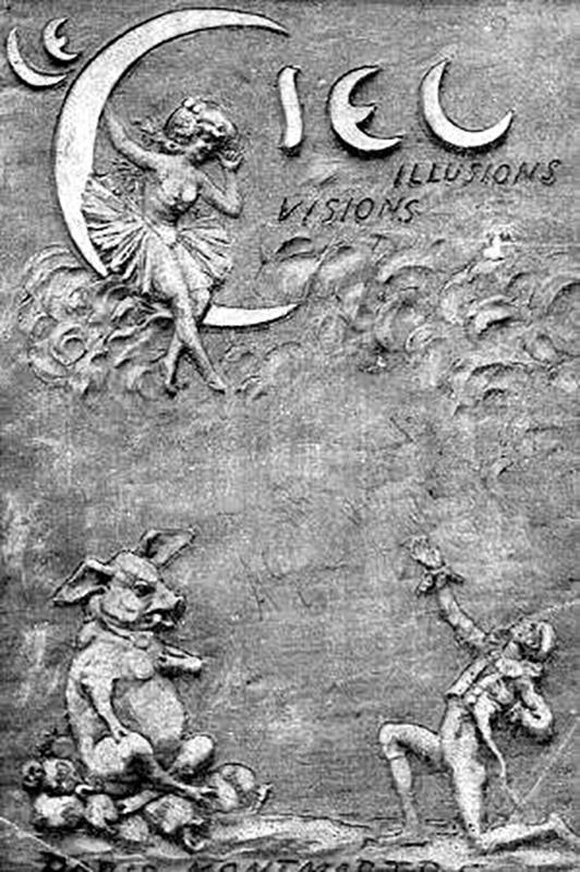 A szórakozóhely korabeli reklámja, központi helyen a bálványként imádott aranyozott disznó. (Fotó: Parismuseescollections.paris.fr)