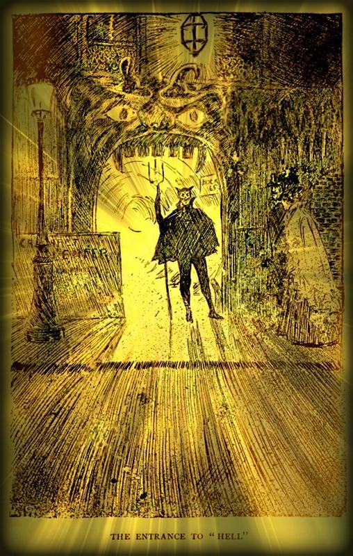 Ördögjelmezbe bújt ajtonálló (Forrás: W.C. Morrow: A bohém Párizs napjainkban 1899)