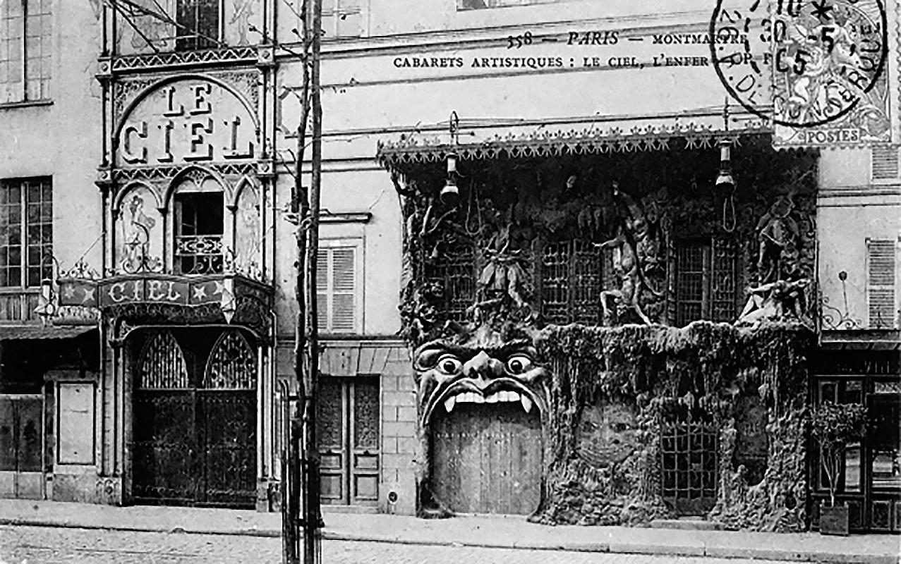 A Menny Kabaré bejárata. Jobbra a Pokol (Fotó: Parisrues.com)