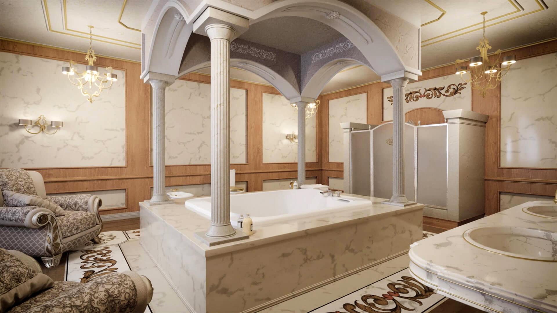 Putyin egyik fürdőszobája. (Fotó: Palace.navalny.com)