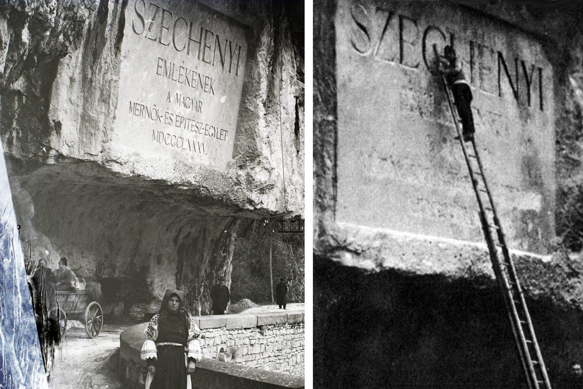 Baloldalt még ép a tábla, jobboldalt a románok kivésik Széchenyire és a magyarságra utaló feliratokat(Fotó: Fortepan.hu és Pesti Hírlap)