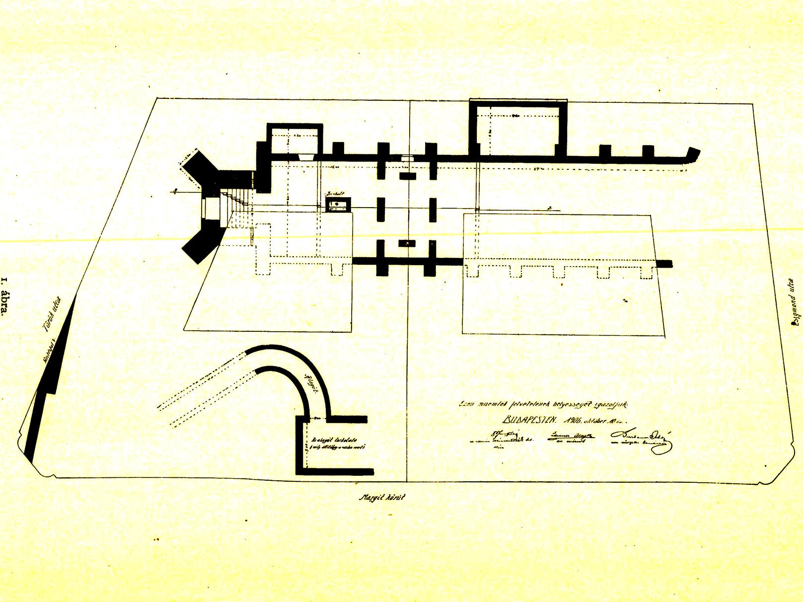 A Margit körút 5/A-B alatti budai irgalmasok építette bérház alapozásánál megtalált Szentháromság templom feltárt falai, illetve az Isten házától délre kezdődő alagút bejárata. (Fotó: Archeológiai Értesítő)