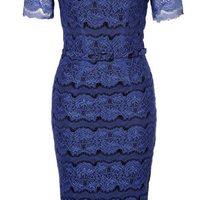 Kék bélelt rövid ujjú csipke ruha (Body Frock) 0155838f4e