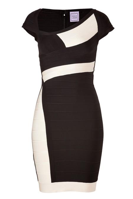 Fekete-elefántcsontszínű rövid ujjú ruha (Herve Leger) - Fashion ... 293cdaeb50