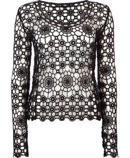 418f534fc5 Fekete hosszú ujjú horgolt női felső (Deb) - Fashion, Style & Beauty