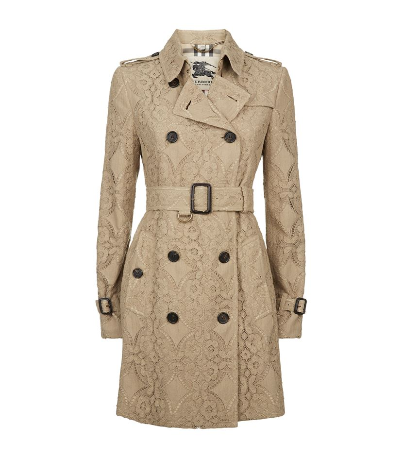 8a414fe9d8 Burberry London Kensington Lace Trench Coat, Honey
