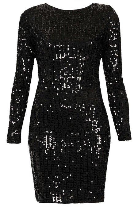 Fekete flitteres hosszú ujjú ruha (Motel) - Fashion 7705870349