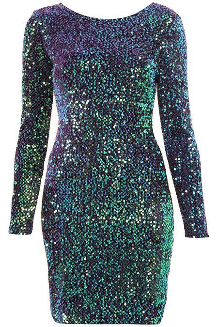 Kék-zöld flitteres hosszú ujjú ruha (Motel) - Fashion a04d3152bb