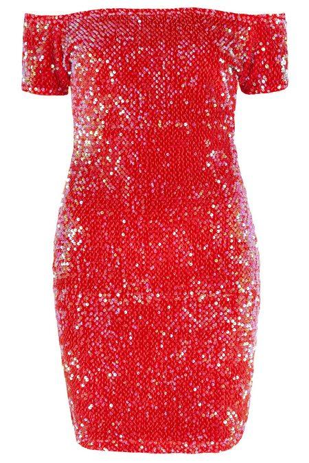 Piros flitteres ejtett vállú alkalmi ruha (Motel) - Fashion 75e8e6a0bb