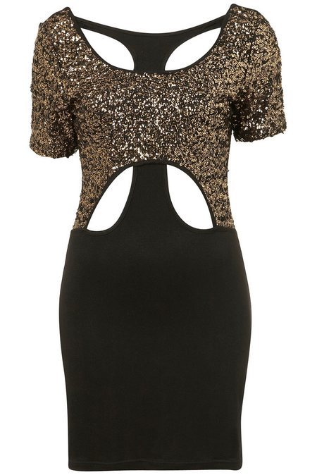 Fekete arany flitteres rövid ujjú alkalmi ruha (Goldie) - Fashion ... a4f12e1113