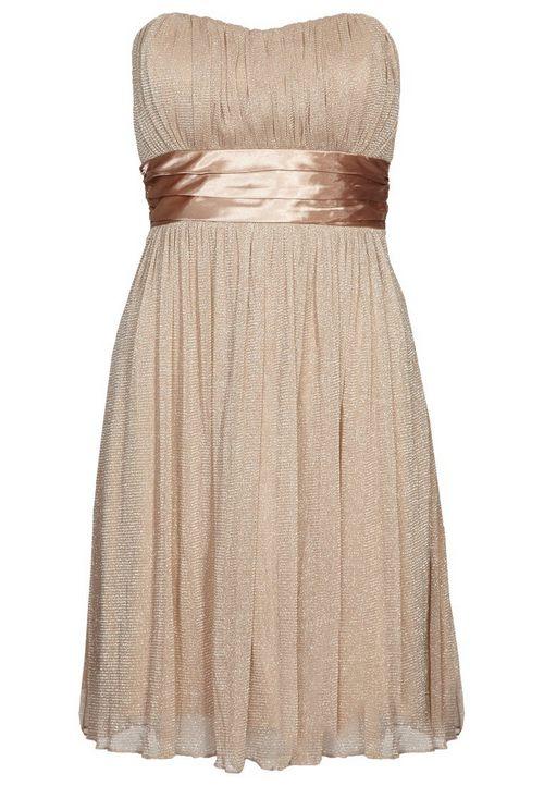 Aranyszínű pánt nélküli alkalmi ruha (B.Young) - Fashion 855d75bb2e