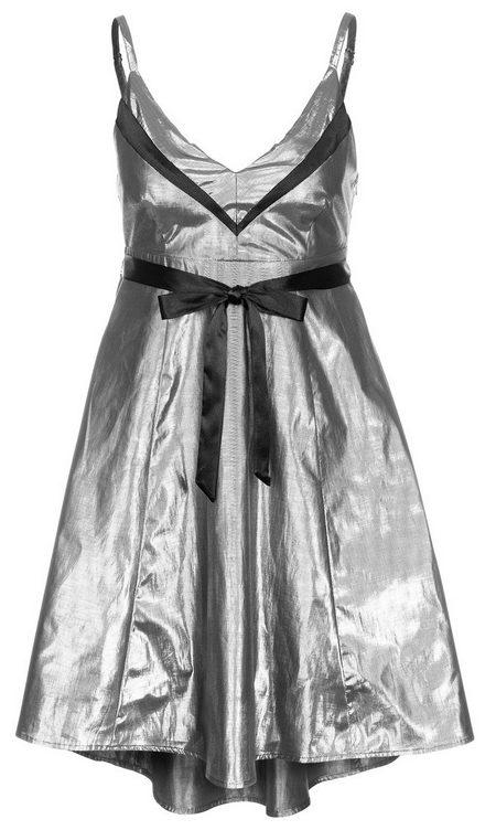 Ezüstszínű-fekete pántos koktélruha (Even   Odd) - Fashion 8d6e8505de