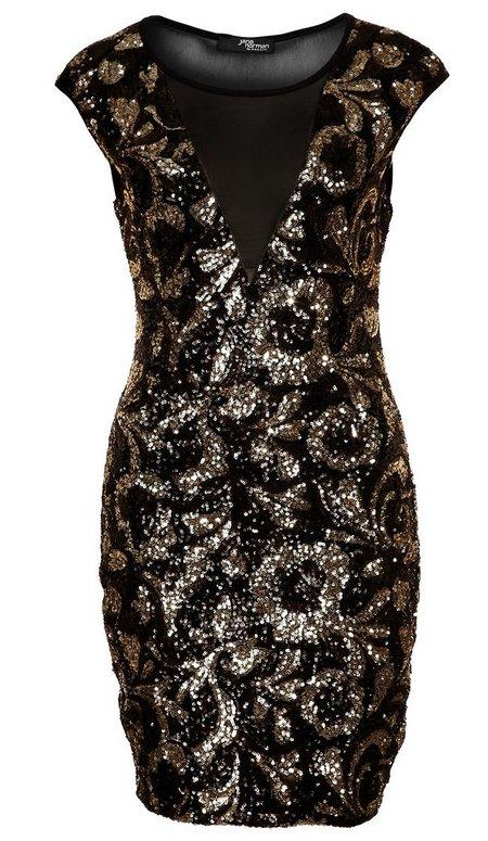 6b9f59f1ad Fekete-arany mintás flitteres koktélruha (Jane Norman) - Fashion ...