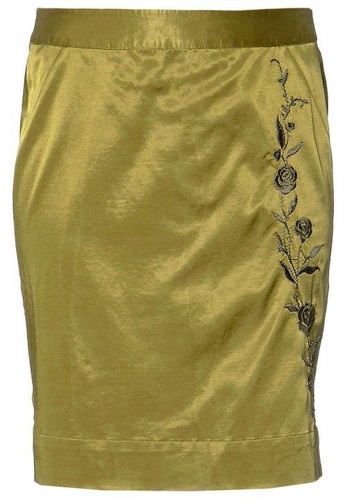 Sárgászöld hímzett szoknya (Jackpot) - Fashion c656d33600