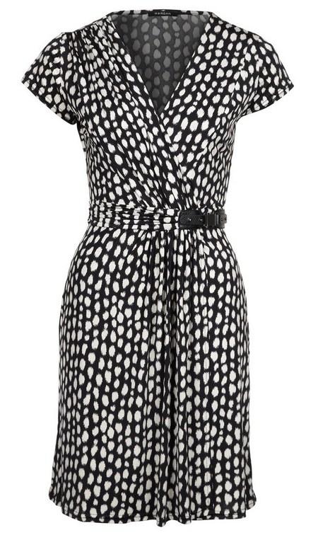 Fekete-fehér pöttyös rövid ujjú ruha (Morgan) - Fashion 72bb0b8355