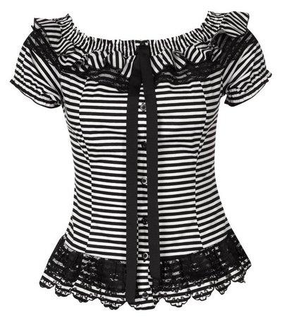 fekete-fehér csíkos női divat Morgan felsők topok 1646373e55