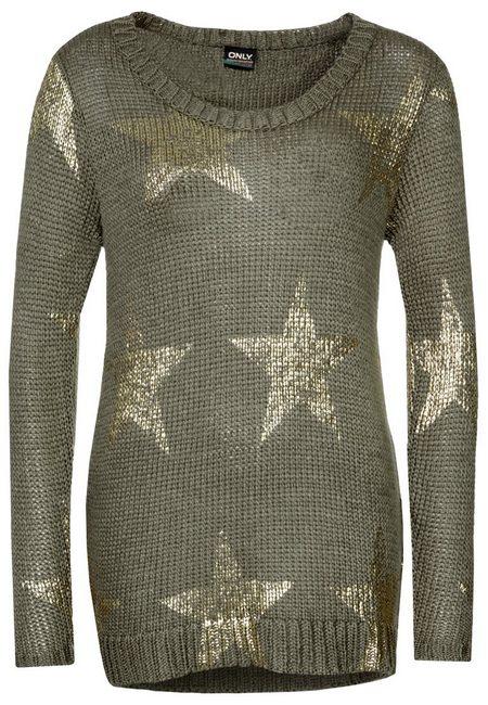 Olívazöld csillagos pulóver (Only) - Fashion 330d24a90c