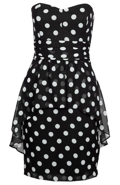 Fekete-fehér pöttyös pánt nélküli koktélruha (Swing) - Fashion ... 296ff689ab