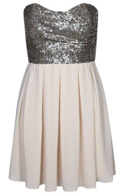 4519cb0ce7 Ezüst-krémszínű pánt nélküli flitteres koktélruha (TFNC) - Fashion ...