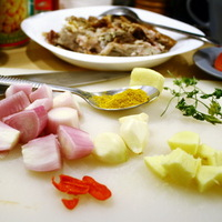 Bárány curry, cukkíni, csicseriborsó