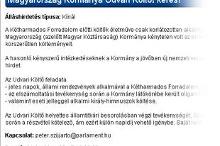 Magyarország Kormánya Udvari Költőt keres