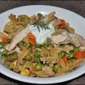 Zöldséges csirke egytál