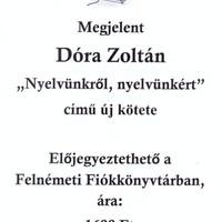 Előjegyezhető Dóra Zoltán új könyve
