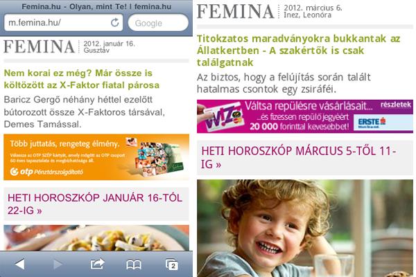 Mobil hirdetések a Femina.hu oldalon