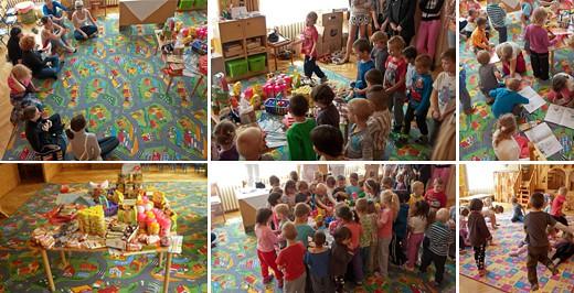 Színes szőnyegekkel és sok-sok adománnyal vártuk a gyerekeket.
