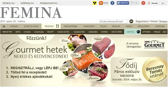 A Femina.hu Főzzünk receptfeltöltőjén Gourmet heteket tartottunk egy hónapon keresztül, így olvasóink a Purina Gourmet macskaeledelek ízvilágával megegyező recepteket tölthettek fel. (2014 május)