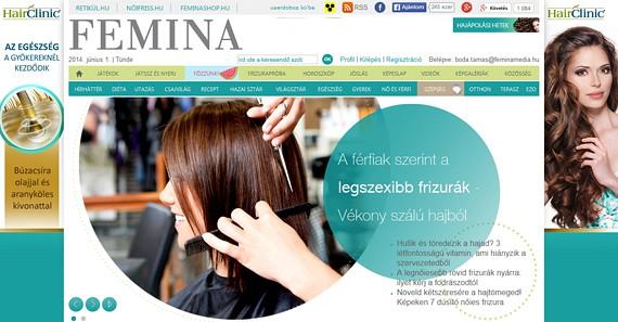 A HairClinic számára Hajápolási heteket szerveztünk, ahol a legfontosabb hajápolási tudnivalókat osztottuk meg olvasóinkkal. A megjelenést egy saját gyártású videóval is kiegészítettük, melyben látogatóink betekintést nyerhettek a Femina.hu szerkesztőségének hajápolási szokásaiba. (2014 május)