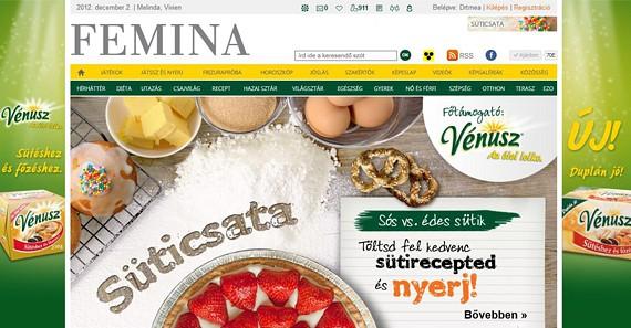 Különleges receptfeltöltőt fejlesztettünk a Vénusz sütőmargarin számára, mely során 6 héten keresztül kerestük a legnépszerűbb sós-édes sütemények receptjét. A feltöltött receptekre szavazni is lehetett értékes nyereményekért. (2012 november-december)
