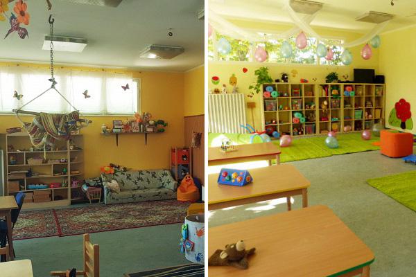 A Csibe csoport szobája a felújítás előtt és után