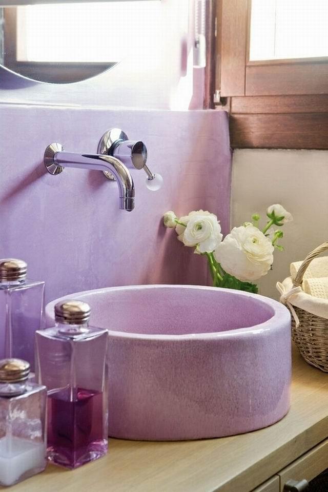 Lakberendezés mindenkinek: 33 lila fürdőszoba