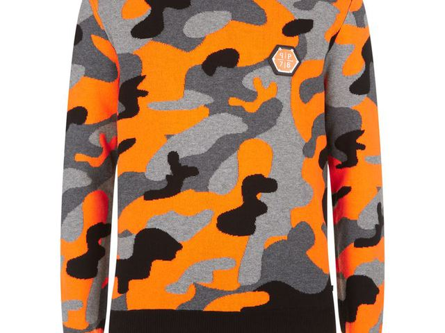 74cd294f58 Philipp Plein Camo Neon Crew Neck Sweater, Orange/Grey