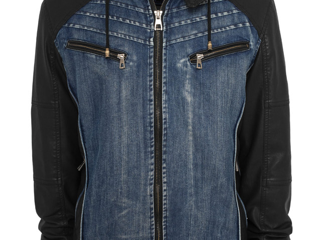 08370f6d16 Urban Classics Jeans Leather Sleeve Jacket, Hooded, blue