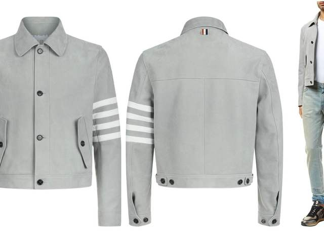 7586b4d9c5 Thom Browne Leather Blouson Jacket, Grey